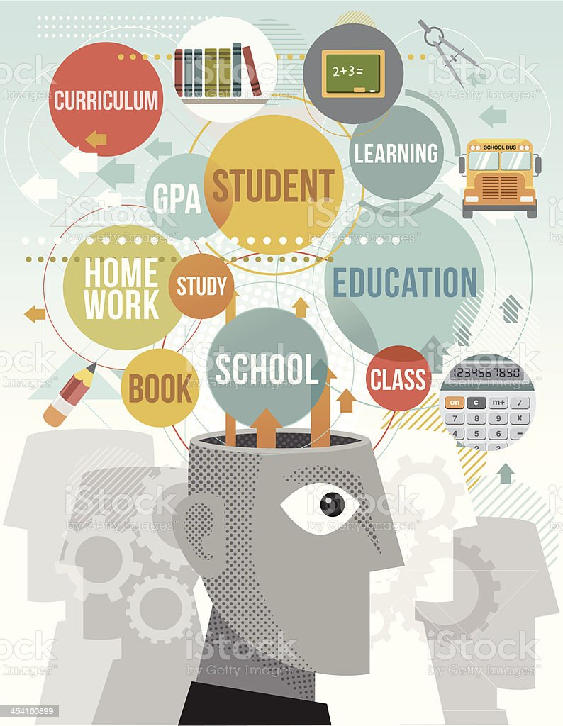 Vector illustration educational term icons vector art illustration