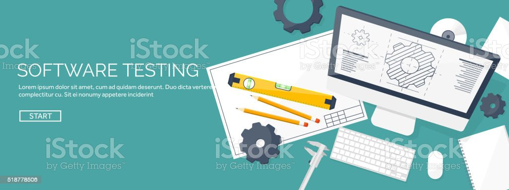 Vector illustration. Engineering and architecture. Computer, software. Drawing, construction.  Architectural vector art illustration