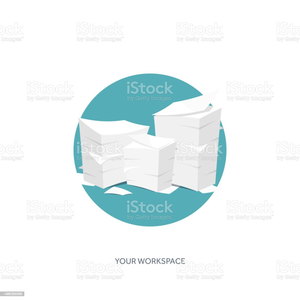 Vector illustration. Flat background Paperwork ,office routine, documents. Workspace vector art illustration