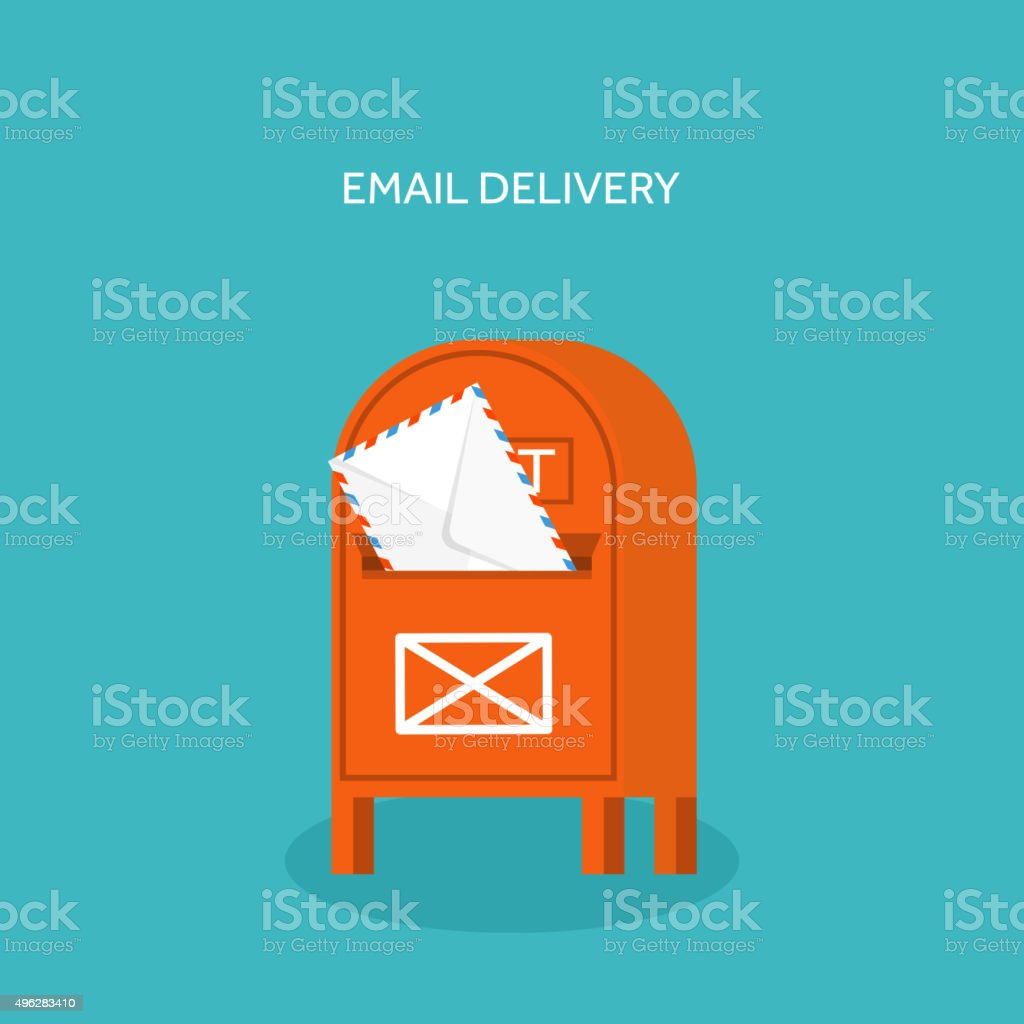 Vector illustration. Flat background with envelope. Emailing concept background. Spam vector art illustration