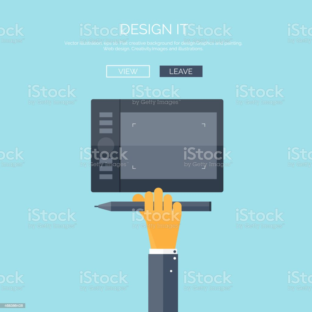 Vector illustration. Flat background with hand and graphic tablet. Web vector art illustration