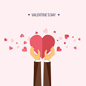 Vector illustration. Flat background with hand and heart. Love, hearts