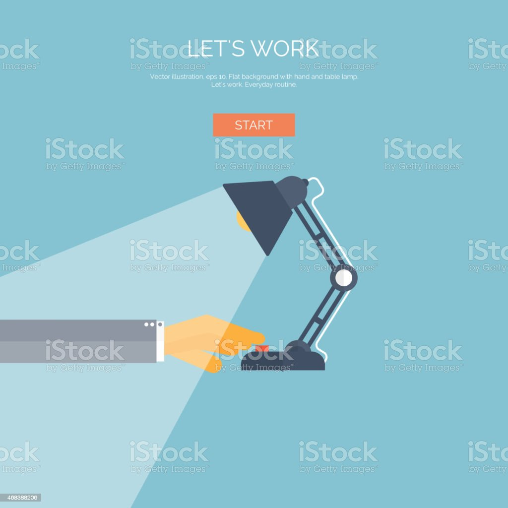 Vector illustration. Flat background with hand and table lamp vector art illustration