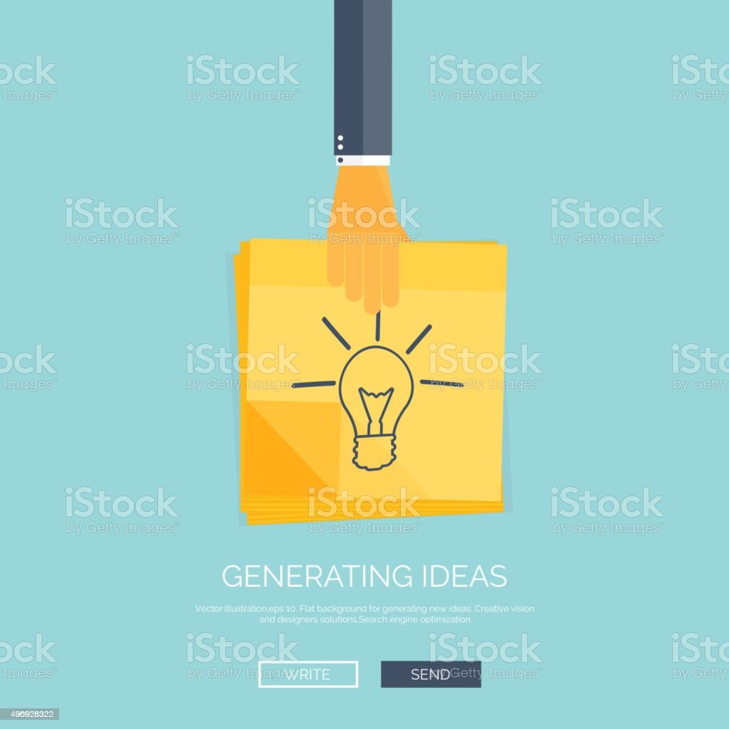 Vector illustration. Flat background with hand ,sticky notes. Smart ideas vector art illustration