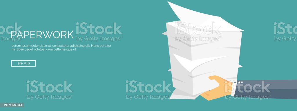 Vector illustration. Flat background with papers. paperwork and office routine vector art illustration