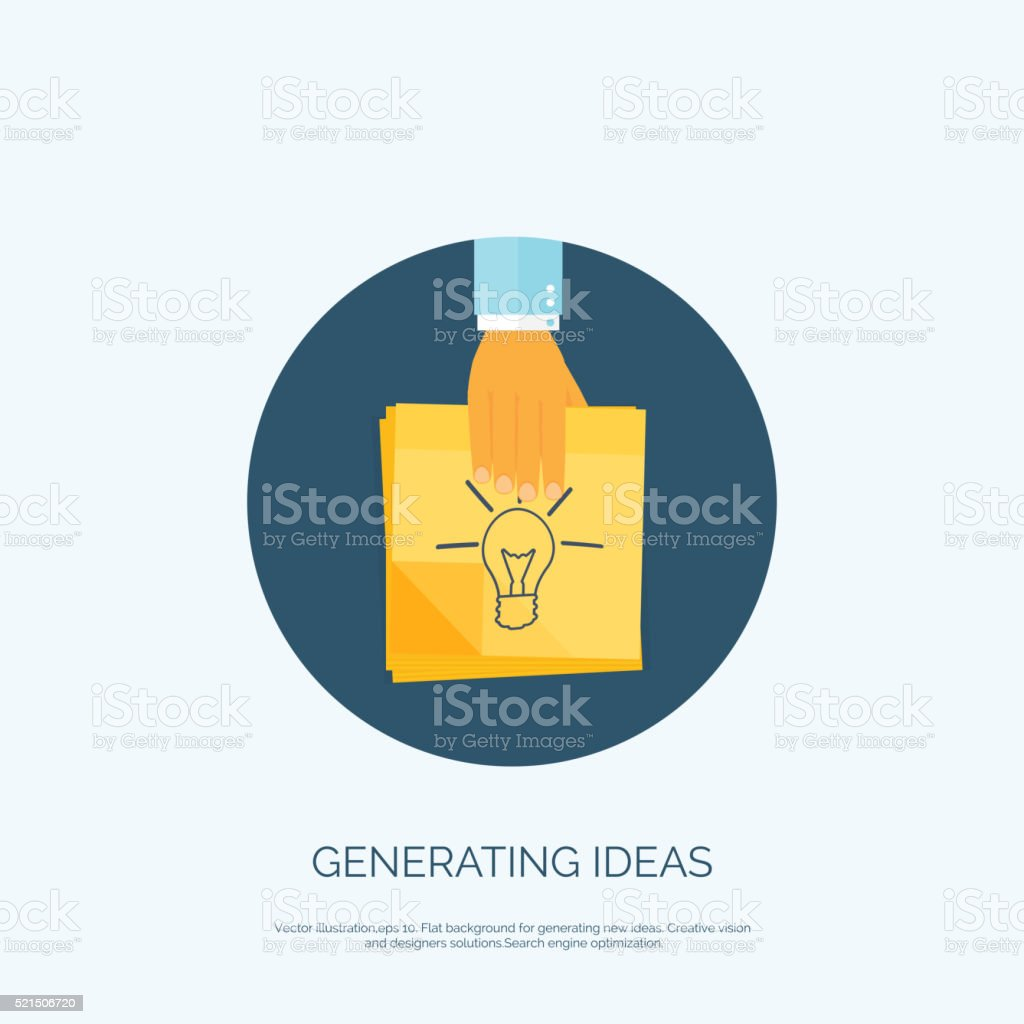 Vector illustration. Flat background with, sticky notes. Smart ideas, business vector art illustration
