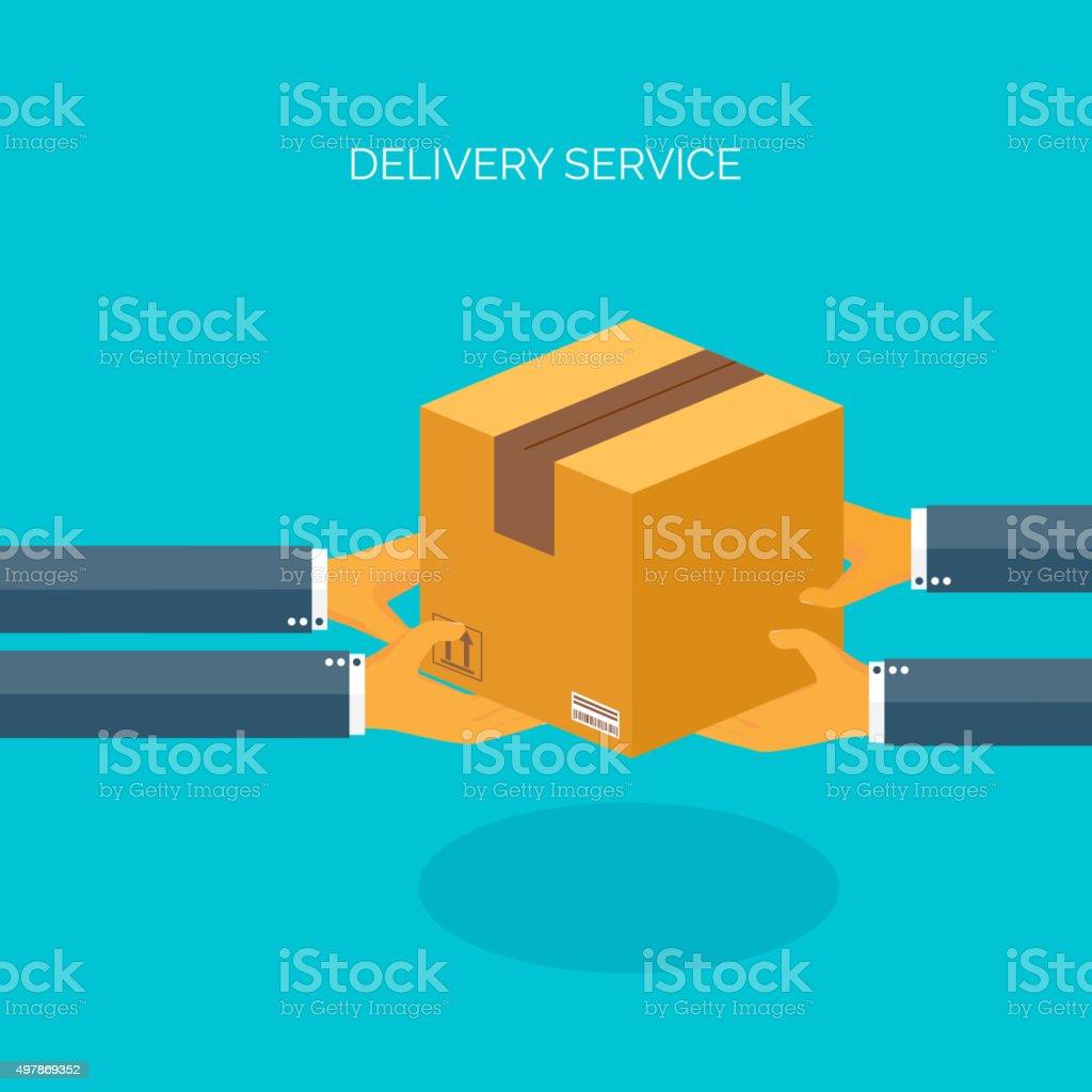 Vector illustration. Flat carton box. Transport, packaging. Post service, online vector art illustration