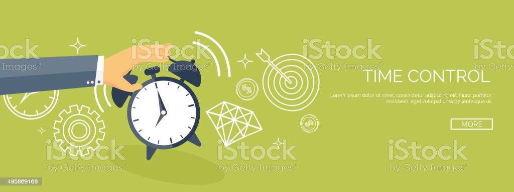 Vector illustration. Flat date and time background. Planning. Time management vector art illustration