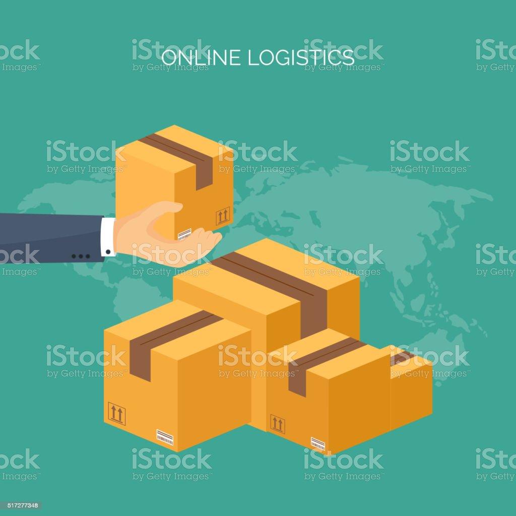 Vector Illustration Flat Header International Delivery