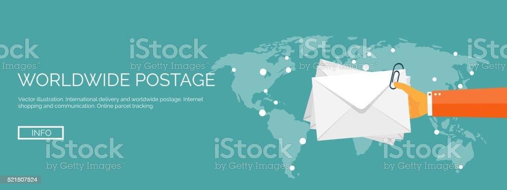 Vector illustration. Flat header. International delivery, worldwide postage. Emailing, online vector art illustration