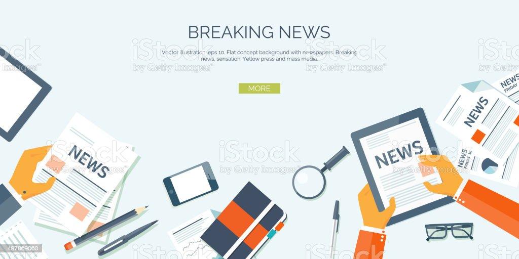 Vector illustration. Flat header. Online news. Newsletter,information. Business, market vector art illustration