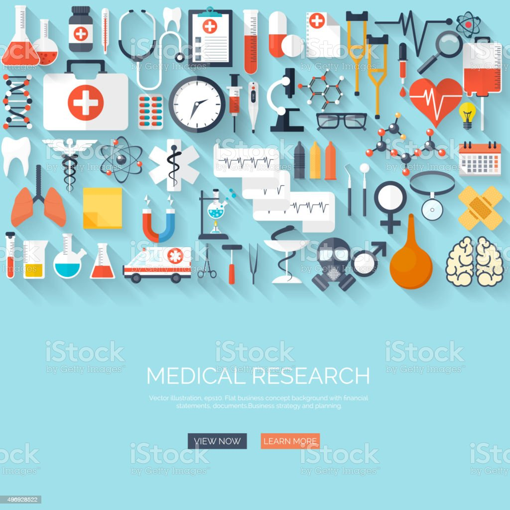 Vector illustration. Flat medical and chemical background. Research, experiment. Healthcare vector art illustration