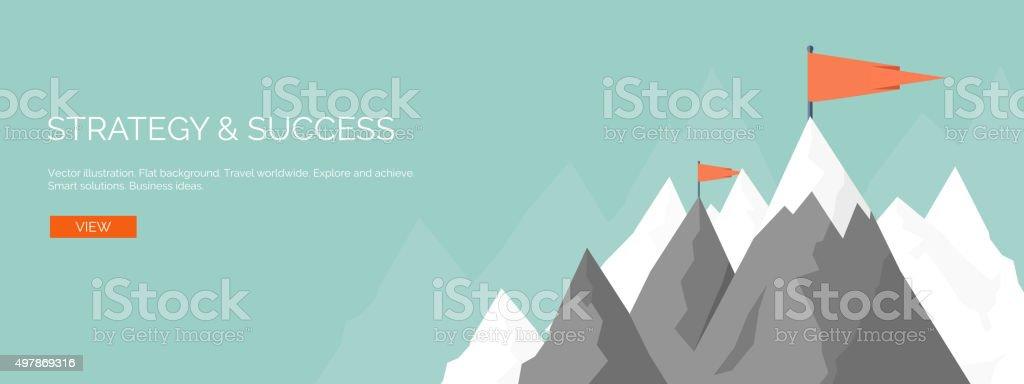 Vector illustration. Flat mountaines. Mission, achievement. Nature , travel. Success, smart vector art illustration