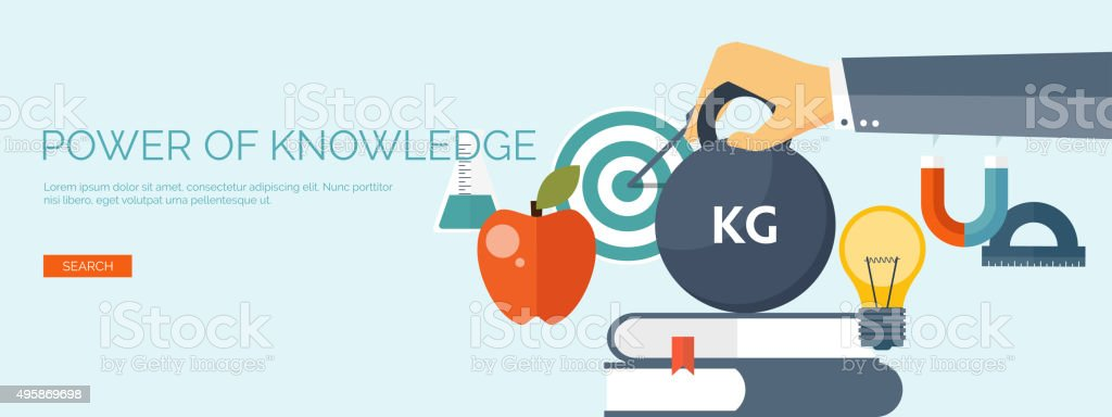 Vector illustration. Flat study background. Power of education. Online education vector art illustration
