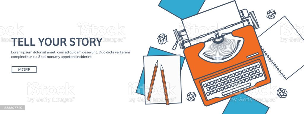 Vector illustration. Flat typewriter. Tell your story. Author. Blogging. Lined vector art illustration