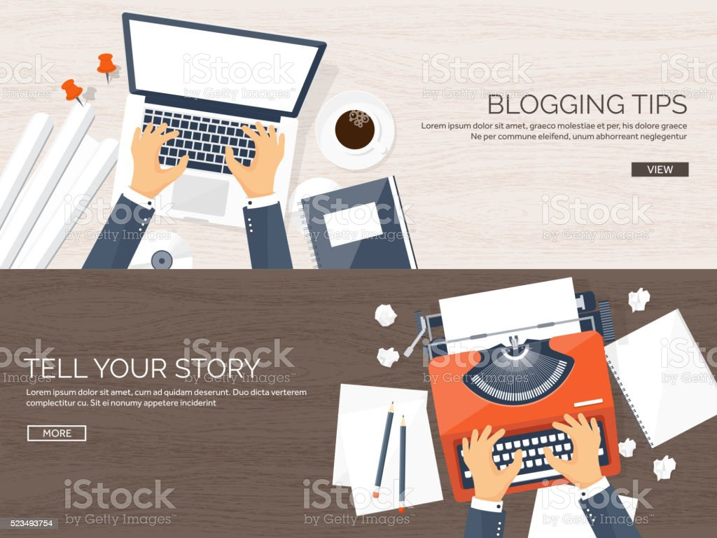 Vector illustration.  Flat typewriter.Laptop with hands. Tell your story vector art illustration