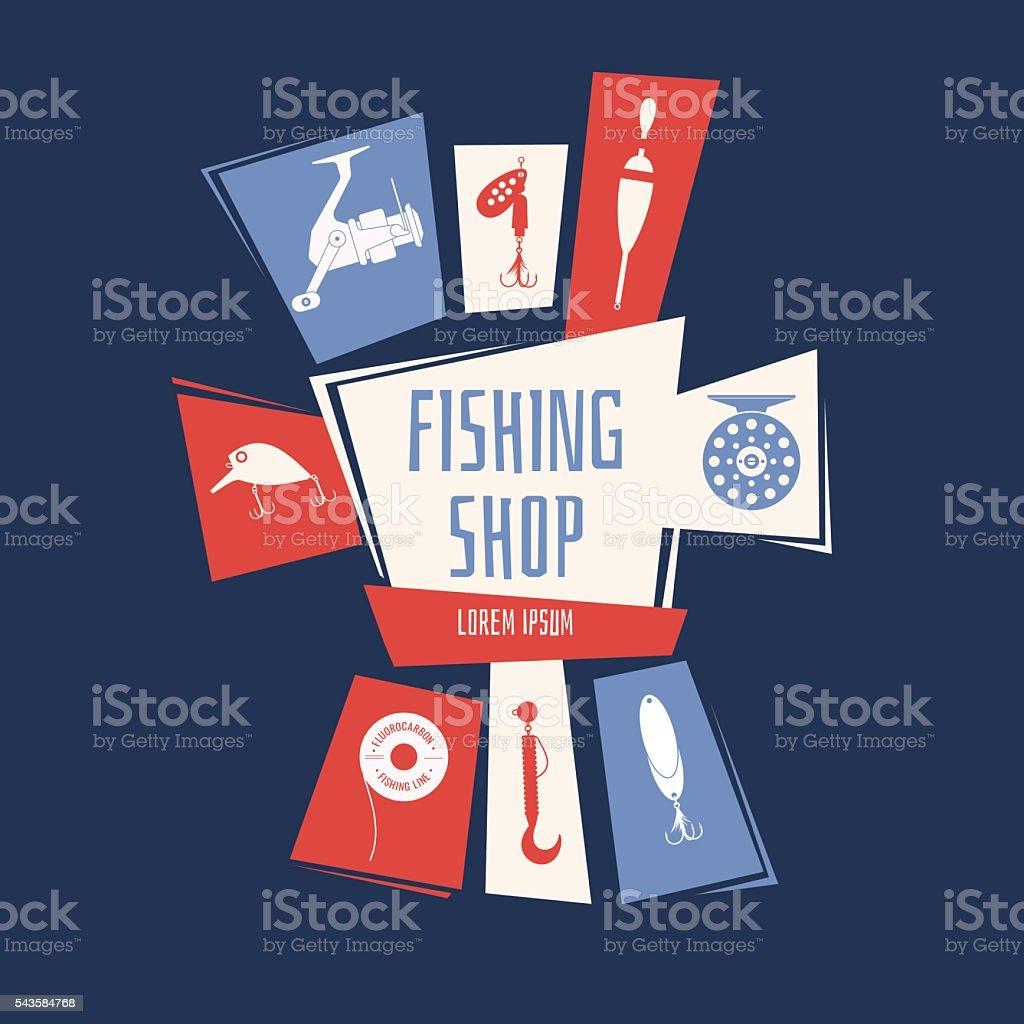 Vector illustration for a fishing store vector art illustration
