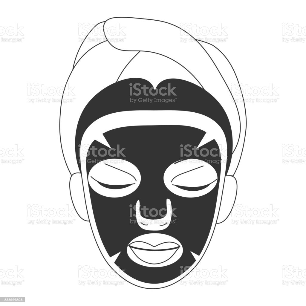 Vector illustration for cosmetic face care in line art style: woman face with black sheet mask on. Black facial sheet mask  could be a Volcanic, Black pearl or Charcoal one for deep skin pore care. vector art illustration