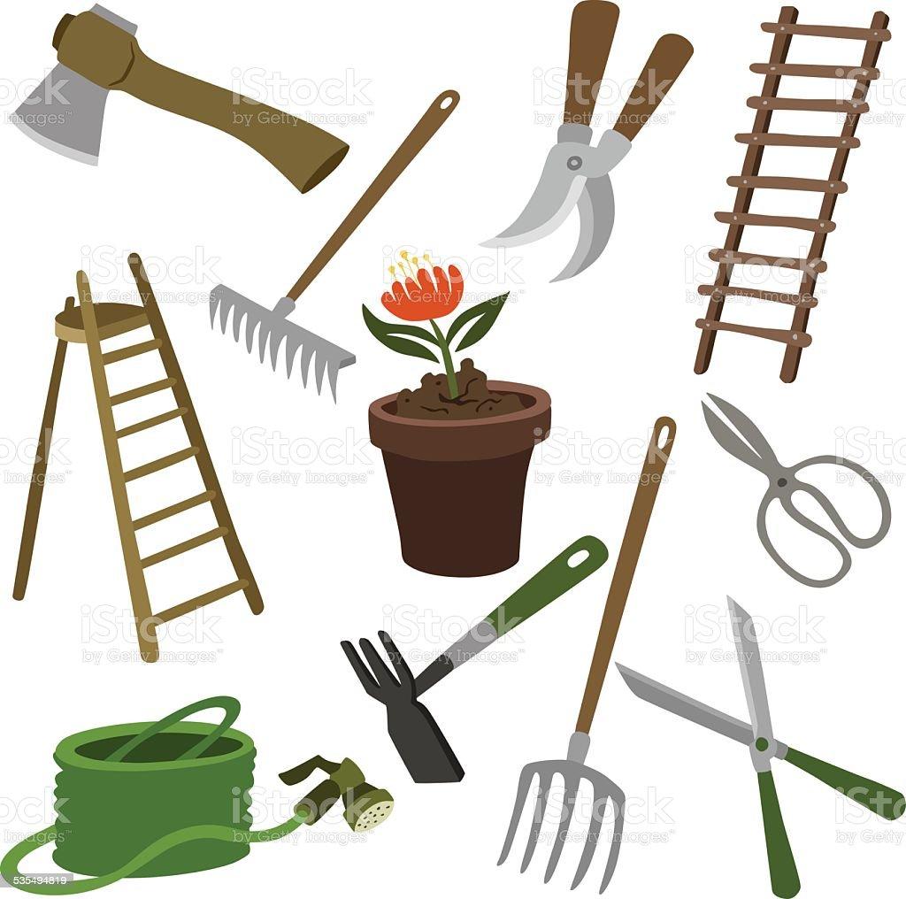 vector illustration garden supplies vector art illustration