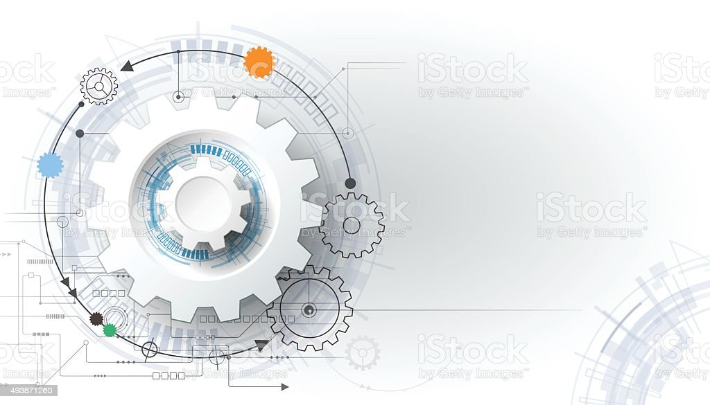 Vector illustration gear wheel and circuit board vector art illustration