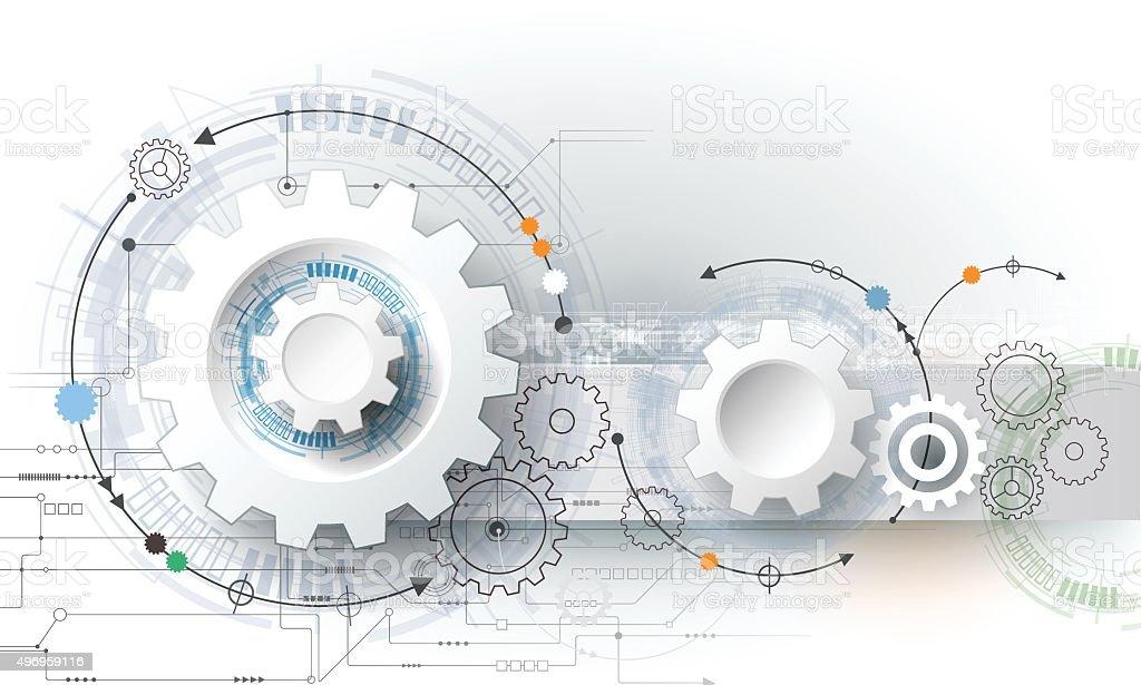 Vector illustration gear wheel, hexagons and circuit board vector art illustration