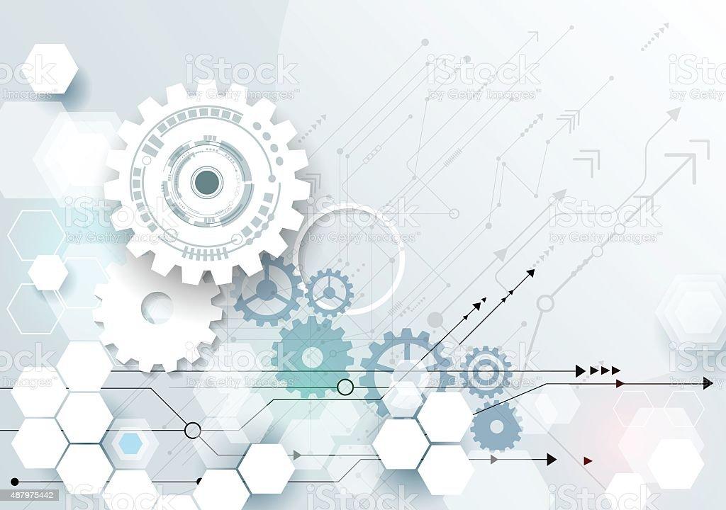 Vector illustration gear wheel on circuit board vector art illustration