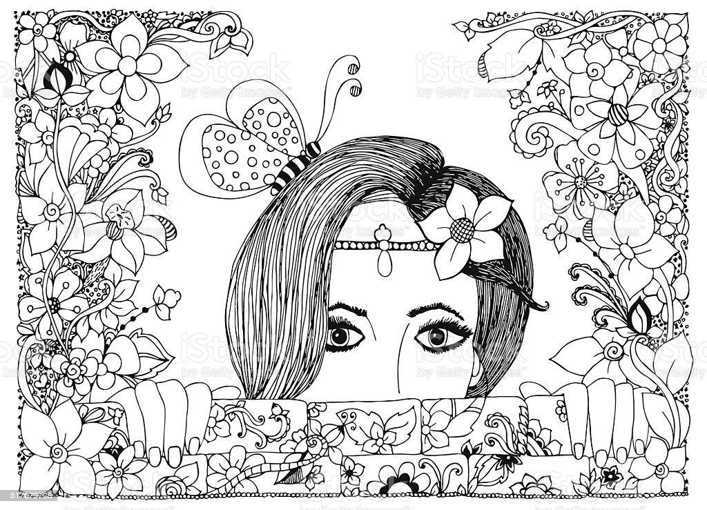 Vector illustration girl looks out of the stone walls vector art illustration