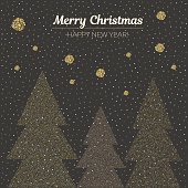 Vector illustration gold dotted christmas trees.