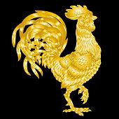 Vector illustration golden rooster on black background
