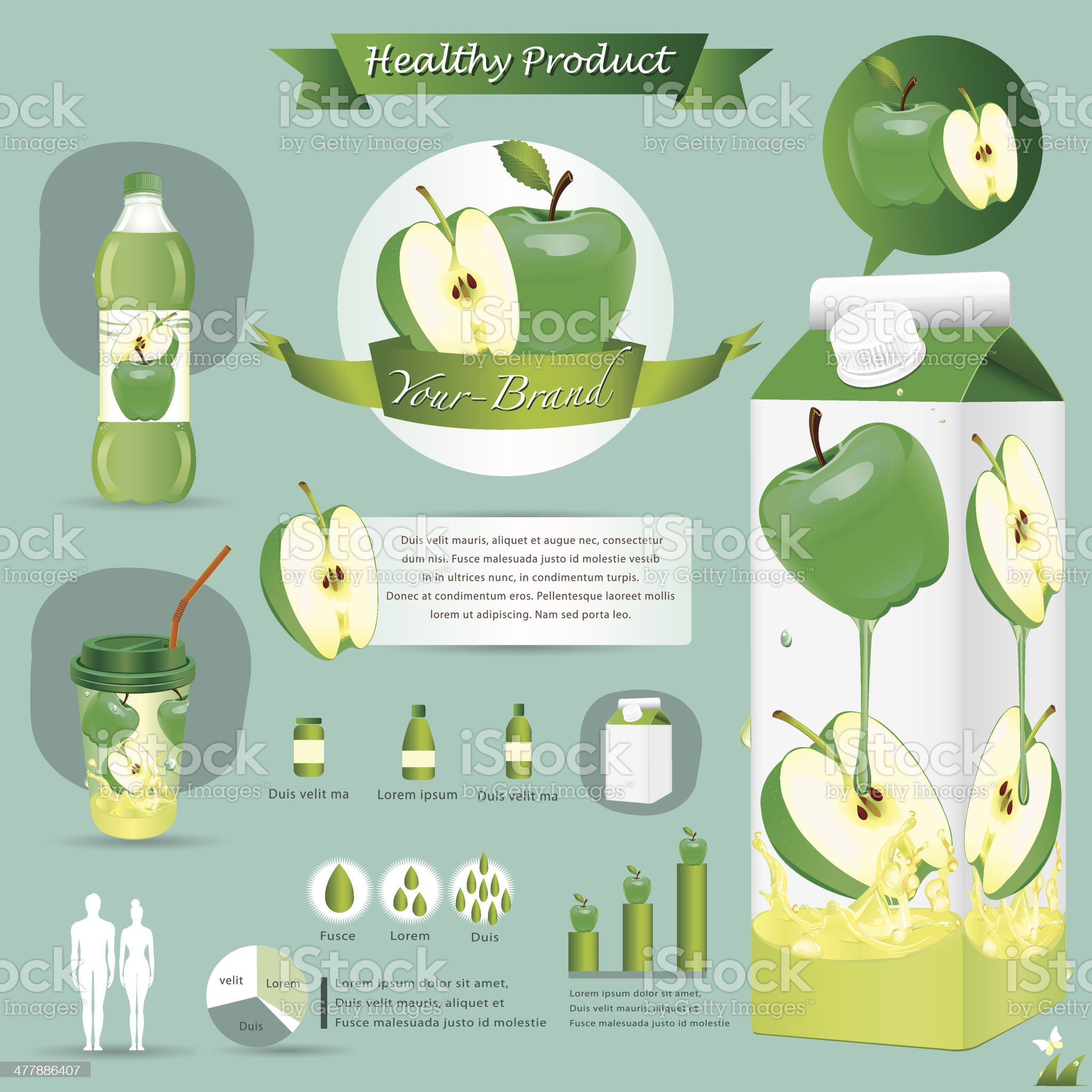 Vector illustration. Green apple package.infographics royalty-free stock vector art