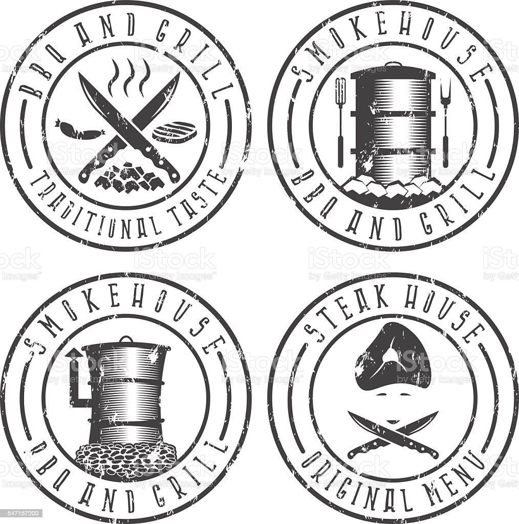 vector illustration grunge set of BBQ  steakhouse and smokehouse vector art illustration