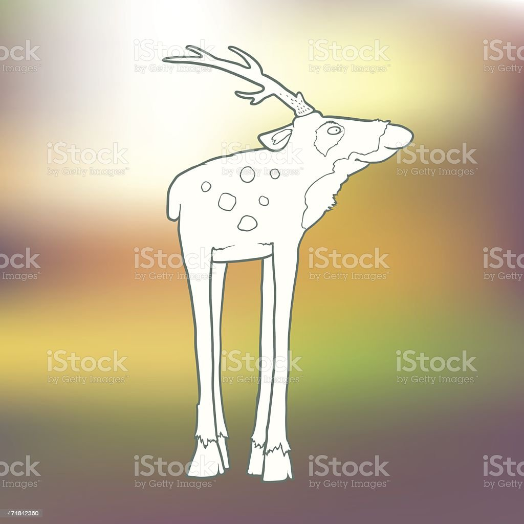 Vector Illustration Hand-drawn deer with long horns and spots vector art illustration