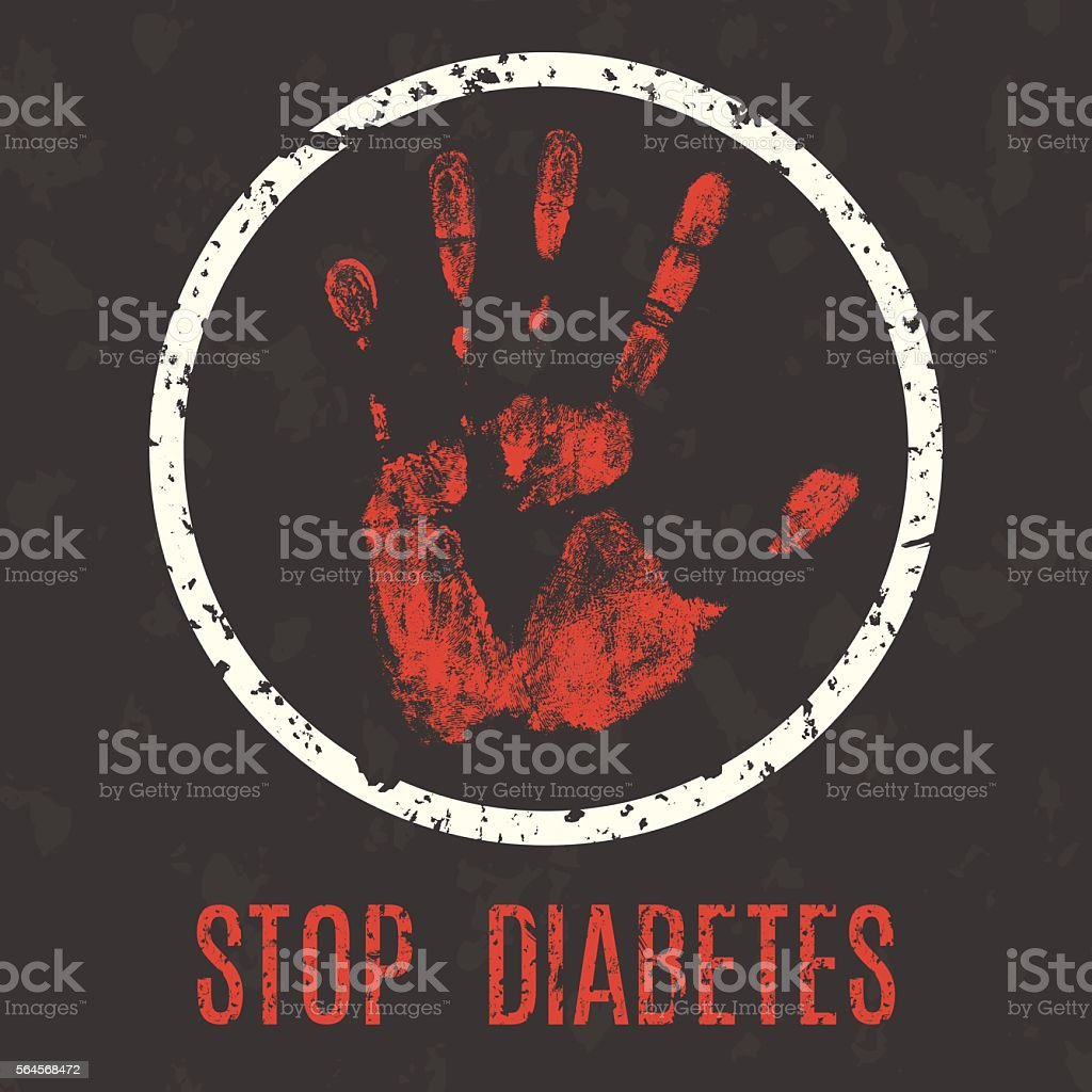 Vector illustration. Human diseases. Stop diabetes. vector art illustration