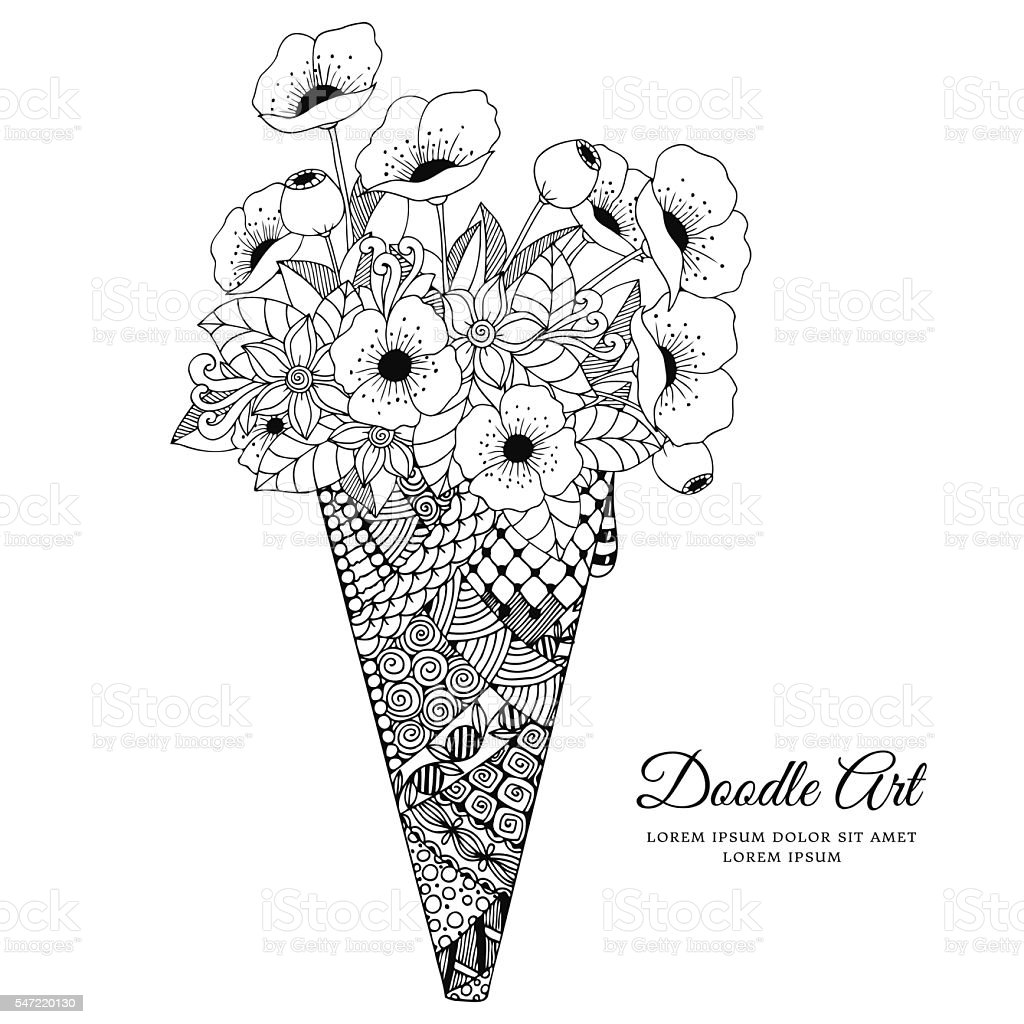 Vector illustration, ice cream with poppies. Doodle drawing vector art illustration