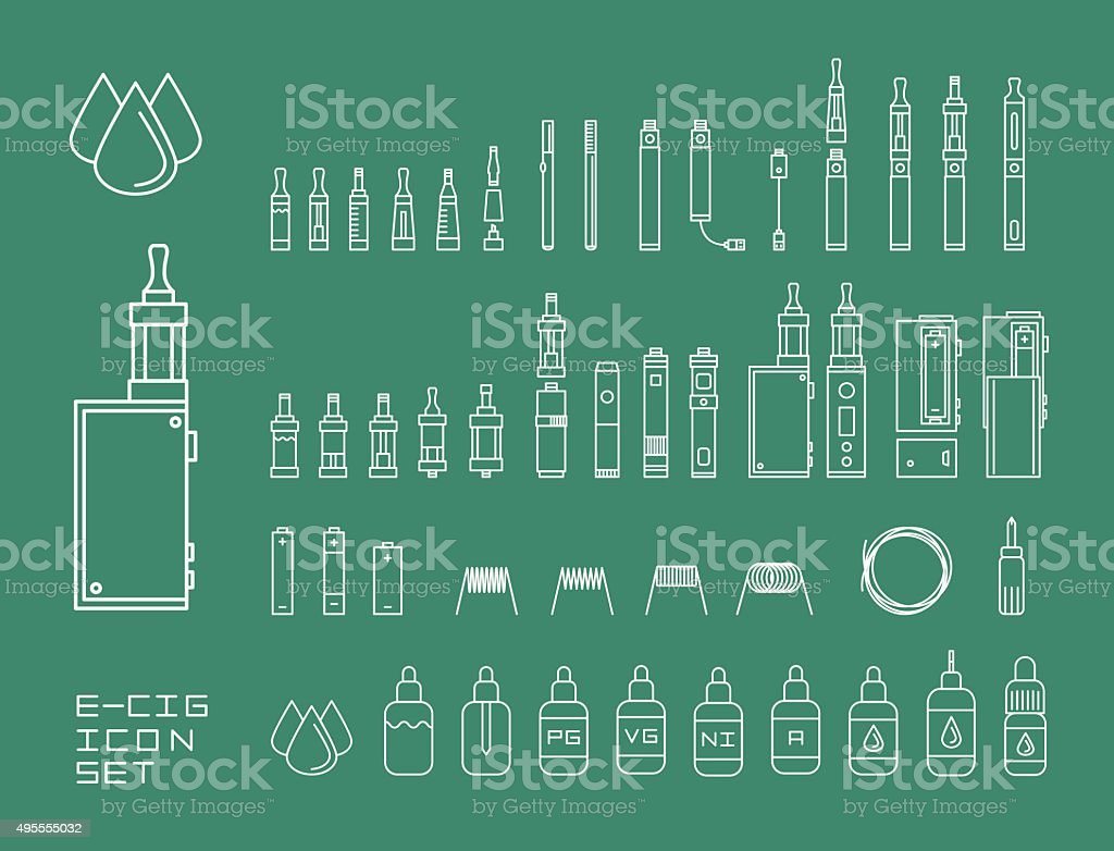 Vector illustration icon set of vaping e-cigarette devices and vector art illustration