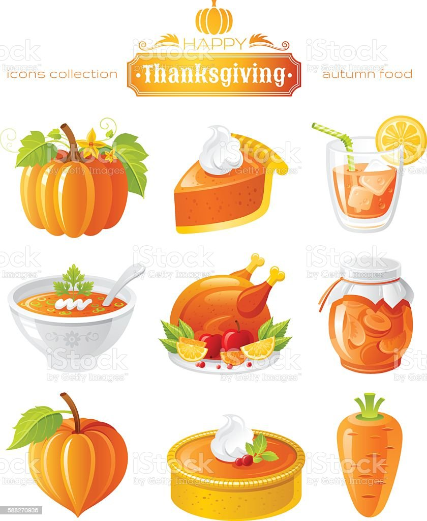 Vector illustration icon set with autumn and thanksgiving food vector art illustration