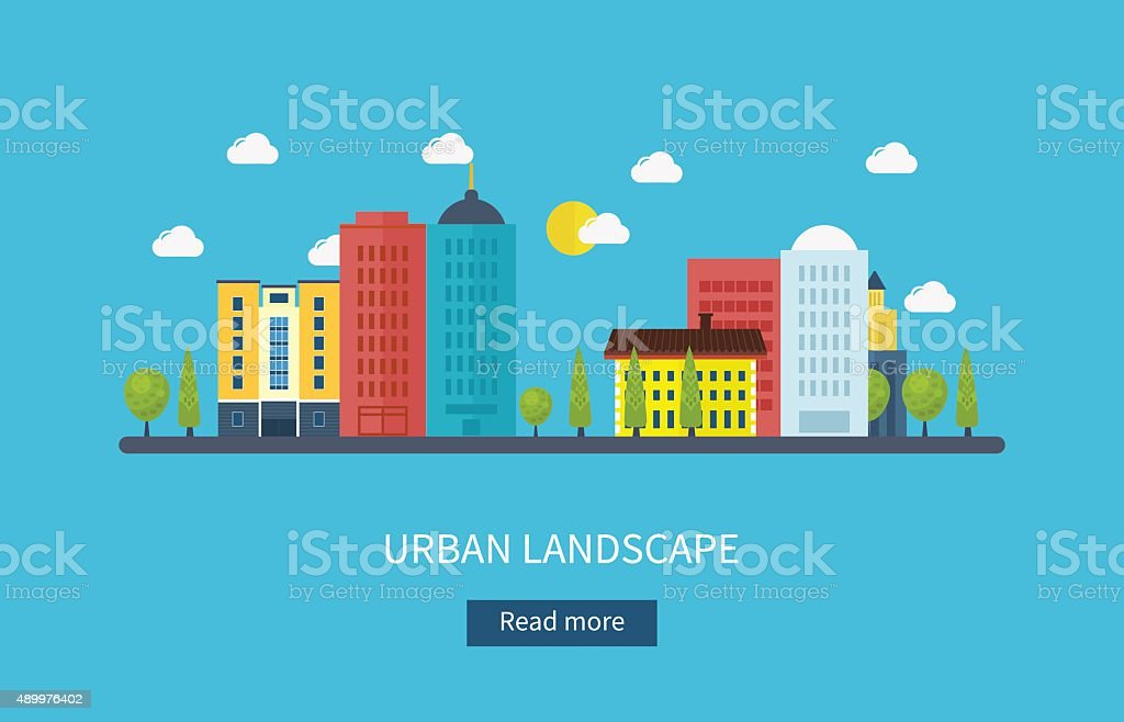 Vector illustration icons set of urban landscape and city life vector art illustration