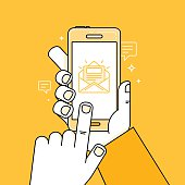 Vector illustration in flat style - hand with mobile phone