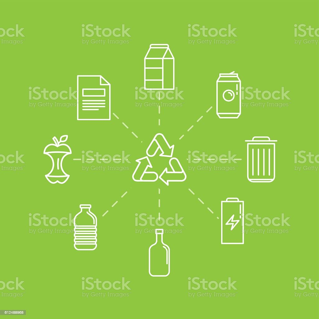 Vector illustration in modern flat linear style - recycle vector art illustration