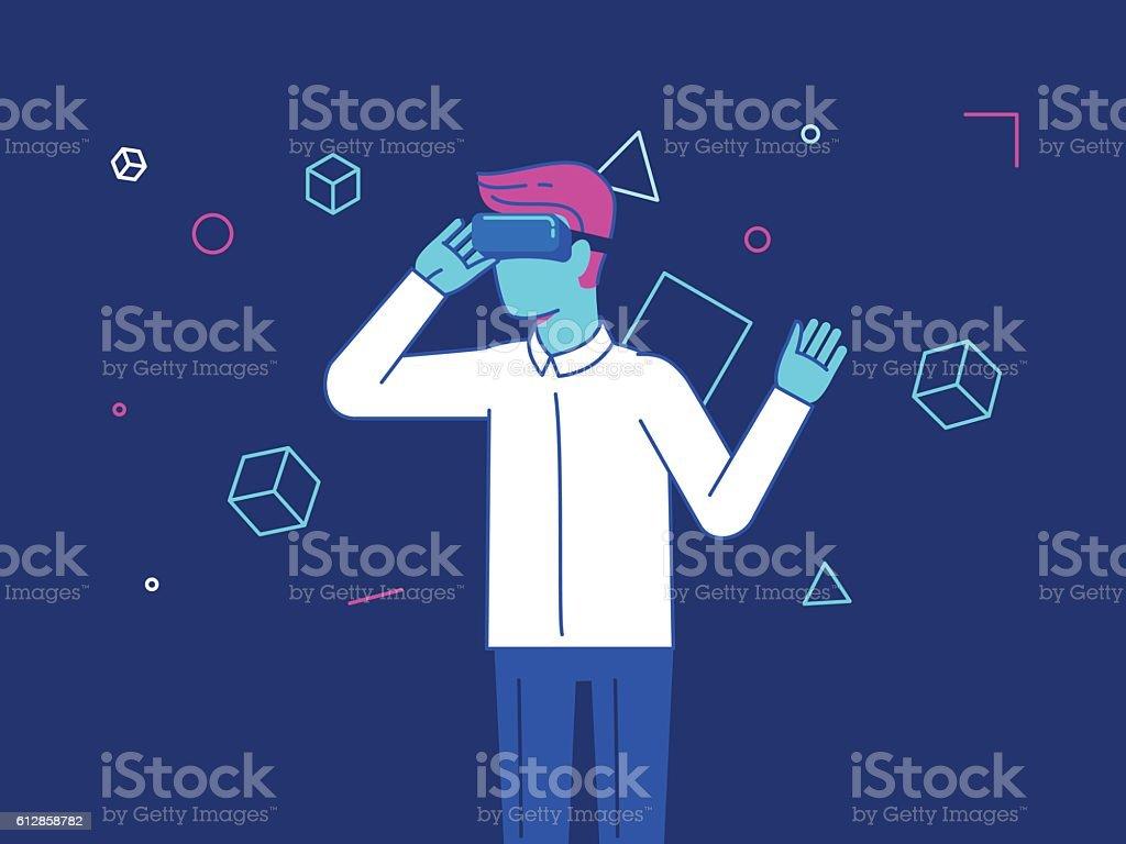 Vector illustration in modern flat style - guy wearing vr vector art illustration