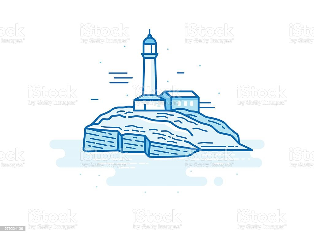 Vector illustration in trendy flat linear style - natural landsc vector art illustration