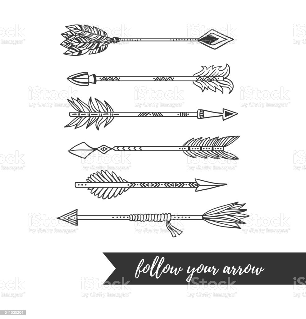 Vector illustration indian style arrow set isolated on white background. vector art illustration