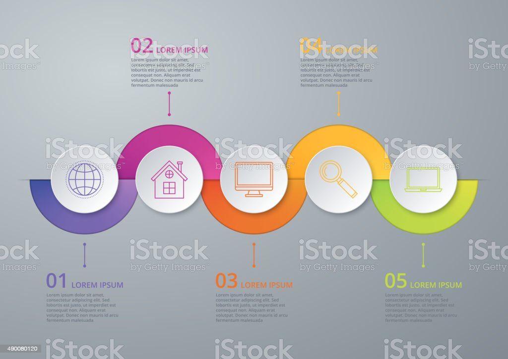 Vector illustration infographic timeline of five options vector art illustration