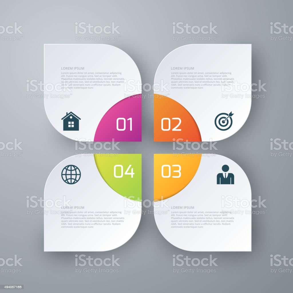 Vector illustration infographics four options squares vector art illustration