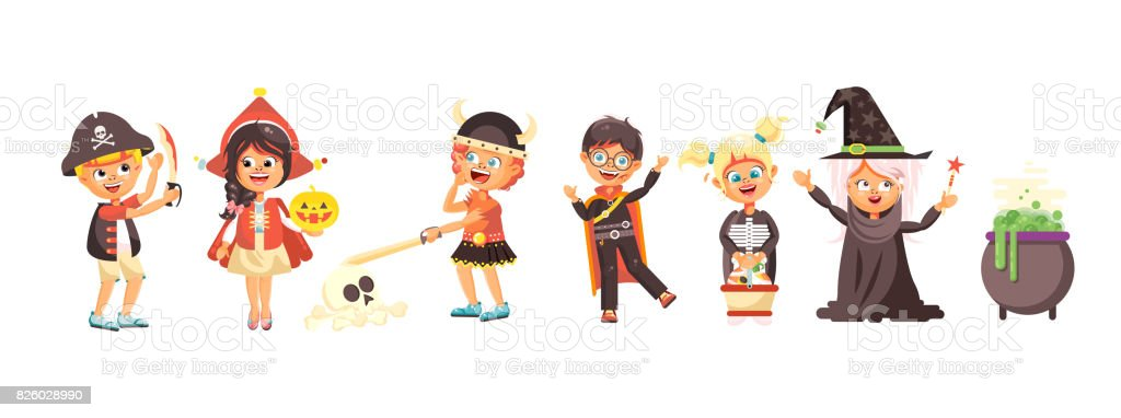 Vector illustration isolated cartoon children Trick-or-Treat boy, girl, costumes fancy dresses holiday party Happy Halloween, pumpkins, bats flat style white background brochure, flyer, leaflet vector art illustration