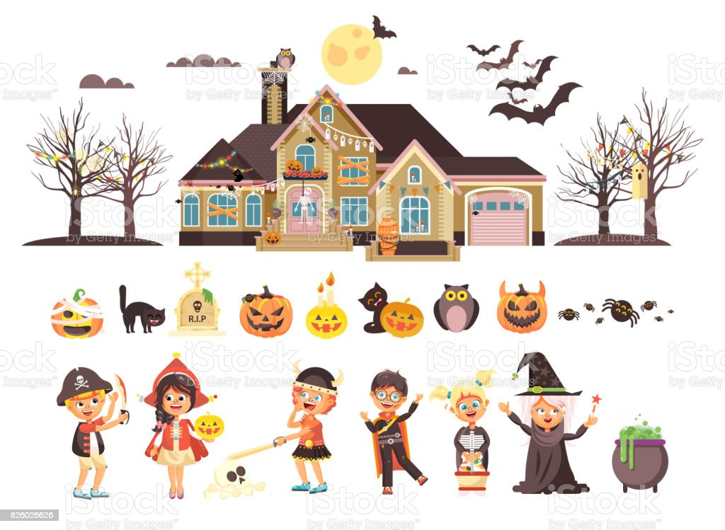 Vector illustration isolated children Trick-or-Treat boy, girl, costumes fancy dresses holiday party Happy Halloween, horror house decorated pumpkins, skeletons, bats flat style white background vector art illustration