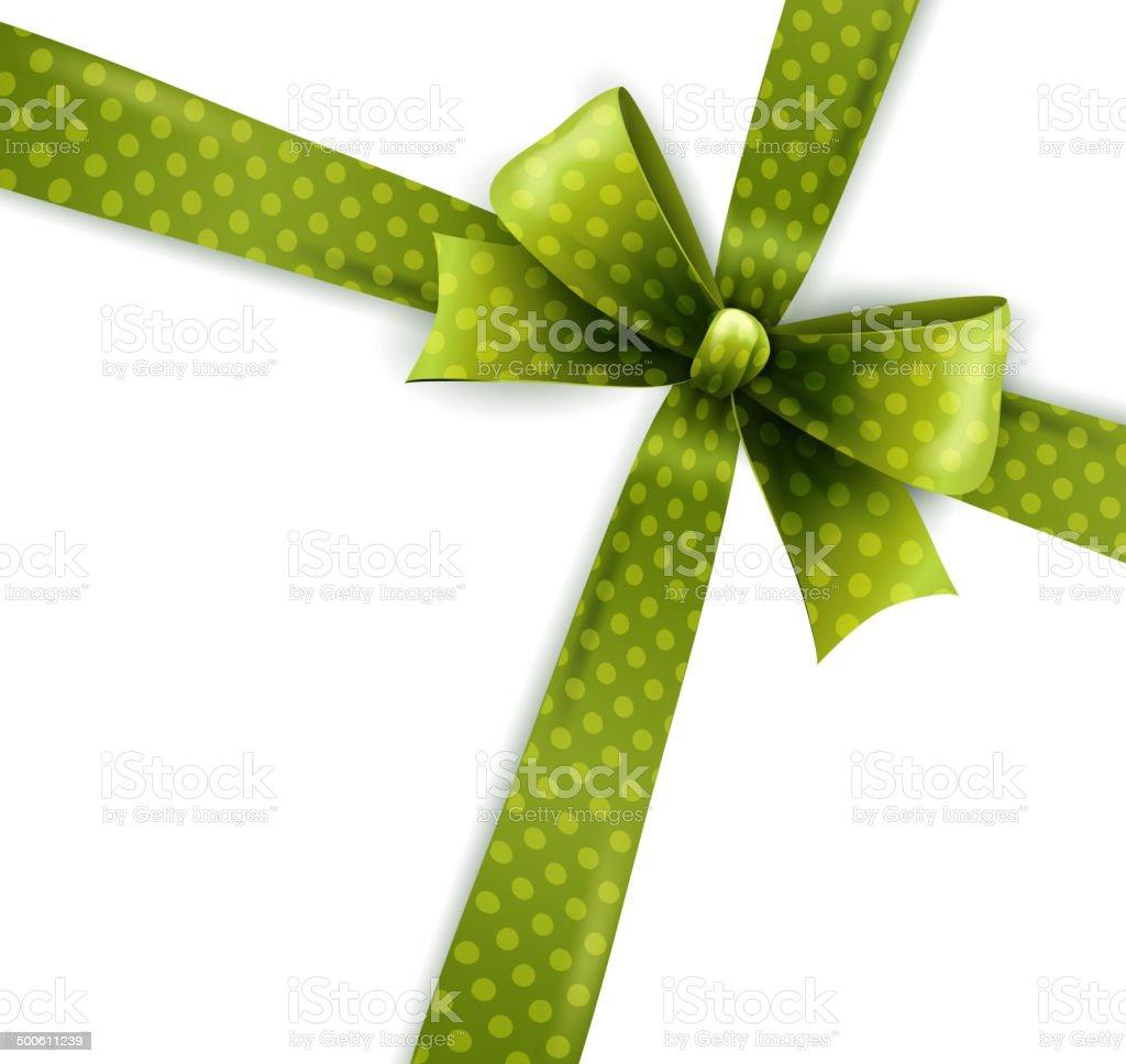 Vector  illustration isolated green polka dots bow vector art illustration