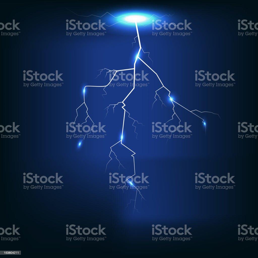Vector illustration Lightning of dark blue background vector art illustration