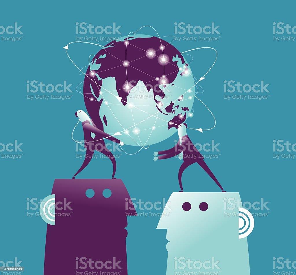 Vector illustration lit global earh pass vector art illustration