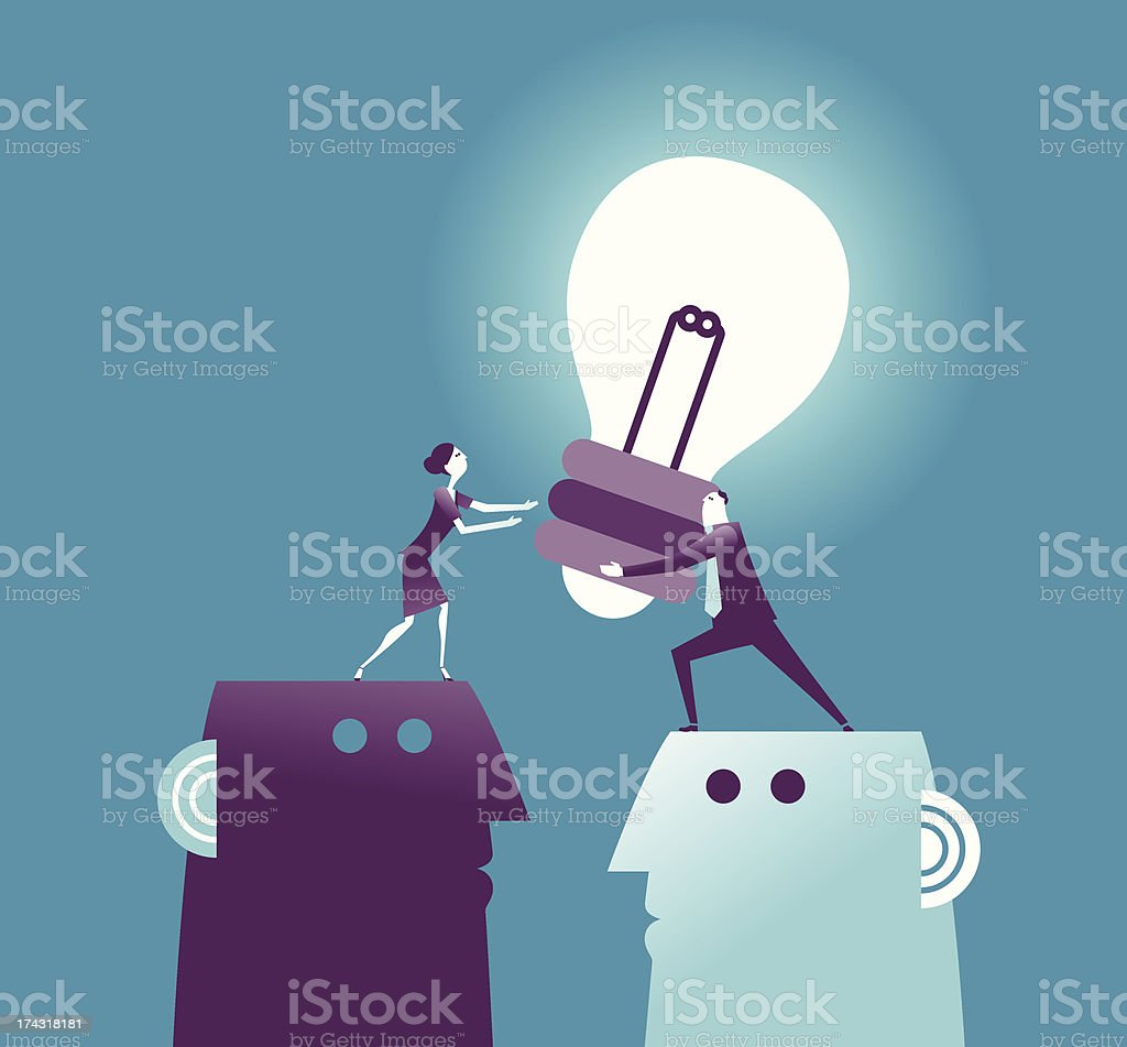 Vector illustration lit light bulb pass royalty-free stock vector art